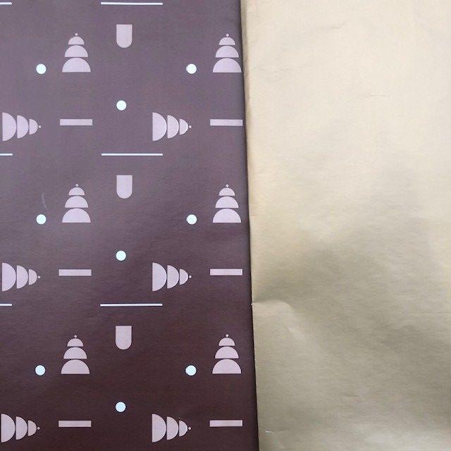 Kerstpapier Bomen bruin