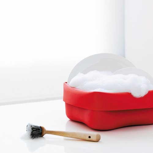Washing up bowl & brush red
